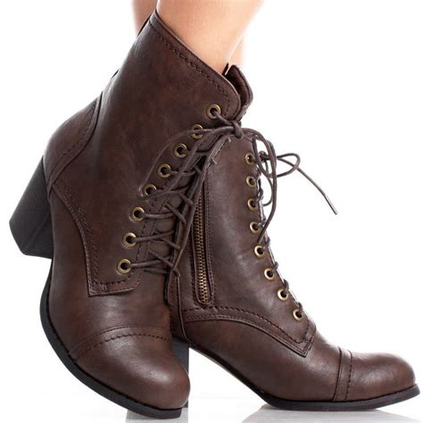brown faux leather lace up combat chunky high heel