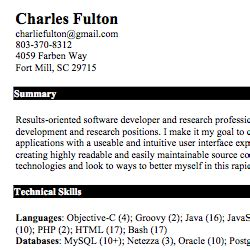 ios developer resume exles
