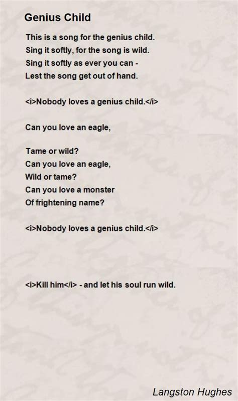 this is a poem genius child poem by langston hughes poem hunter