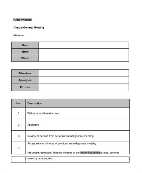 Agm Meeting Template by Best Meeting Minutes Template 24 Free Word Pdf