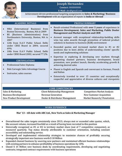 sales and marketing cv format sales and marketing resume sle and template