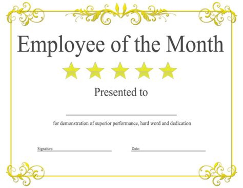 certificates for employees templates epic editable template exle of employee of the month