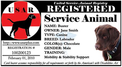 service animal card template usarplus claims defamation service central