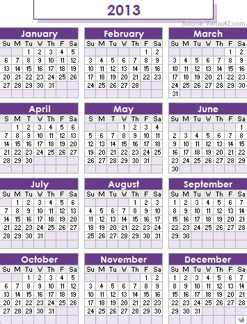 2013 calendar templates monthly and yearly