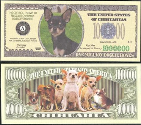 bills dogs a chihuahua dollar bill 2 1 00 ebay