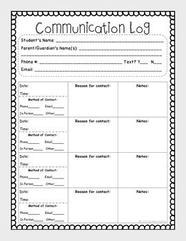 log how to stay connected after disconnecting books free parent communication log by colette palmer tpt