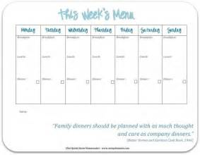 Blank Weekly Menu Template by 7 Best Images Of School Menu Template Printable School