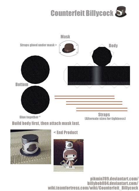Papercraft Hat - tf2 counterfeit billycock hat papercraft by pikmin789 on
