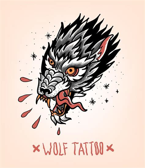tattoo old school animal head of tearing wolf in the style of traditional tattoo