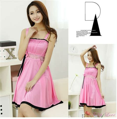 Kung Souvenir Dress Bolong Rayon Pink 1 aliexpress buy 2015 new pink womens suspenders dress pajamas nightgown lace