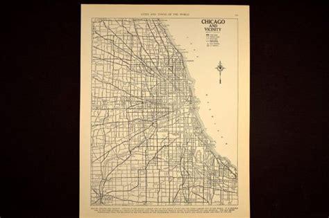 chicago map 1930 1930s vintage map chicago illinois original 1935