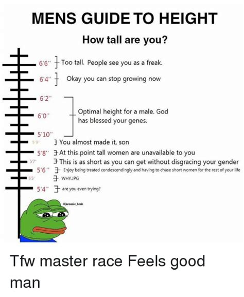 meme height mens guide to height how are you 6 6 f