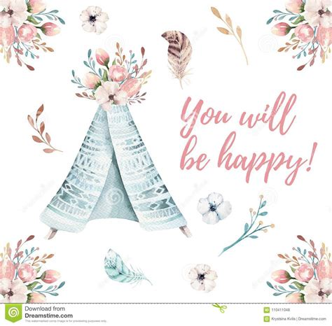 wedding invitation card suite with flower templates watercolor invitation card with teepee bohemian postert