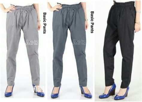 celana panjang 78 kulot wanita kerja santai katun polos korea import jual celana basic beige katun stretch celana kerja