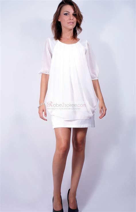 Robe Fluide Mousseline Blanche - robe courte blanche en mousseline manches trois quart