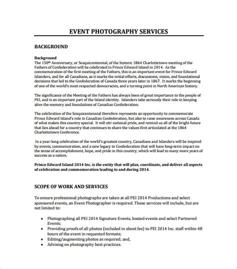 Event Proposal Template 21 Free Word Pdf Format Download Free Premium Templates Photography Rfp Template