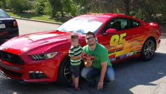Truck Bed Decals Father Turns 2015 Ford Mustang Into Lightning Mcqueen To
