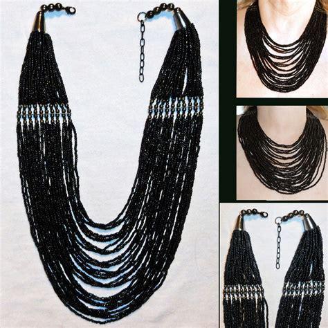 multi strand black bead necklace multi strand black glass bead necklace torsade gun metal