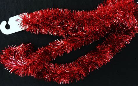 luxury christmas traditional rich red tinsel 2 metre