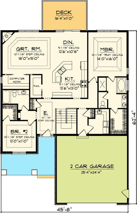Narrow Ranch House Plans by Easy To Build 2 Bed Home Plan 89819ah Craftsman