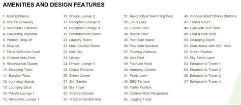 Apartment Amenities List Vista Verde Ho Chi Minh Propertyfactsheet