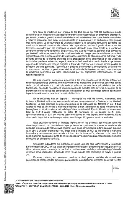 COVID-19 in Spain: debates on new restrictions by the
