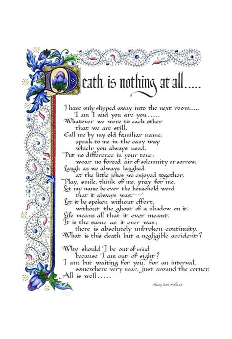 Printable Version Of Death Is Nothing At All | death is nothing at all print a poem by henry scott