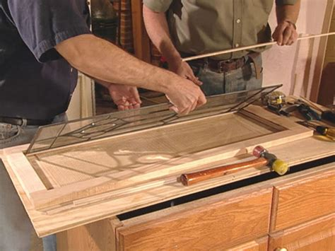 making glass panel cabinet doors how to add antique leaded glass to cabinet doors how tos
