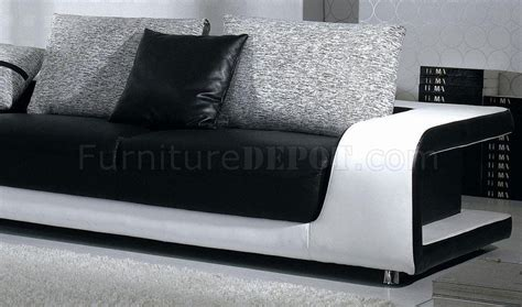 b333 black white leather and fabric sectional sofa