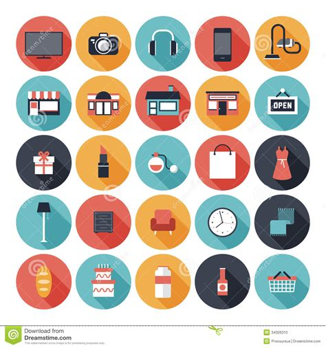 Flat shopping icons set stock vector. Image of elements