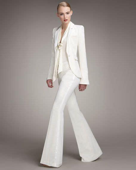 white pant suit zoe tailored tuxedo jacket tie neck plunge blouse and boot cut tuxedo fashion