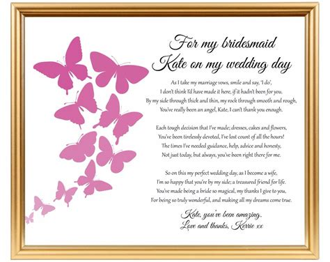 thank you poems for wedding presents bridesmaid thank you poem thank you for being my bridesmaid wedding gift ebay