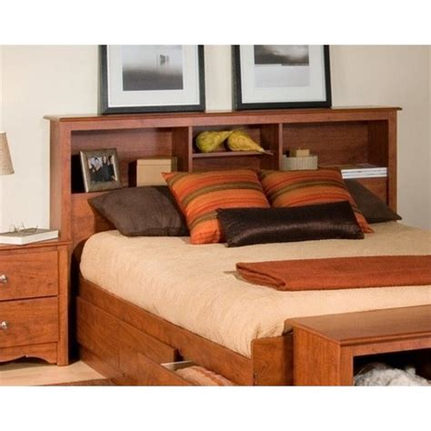 bookcase headboard queen full queen bookcase headboard in cherry finish csh 6643