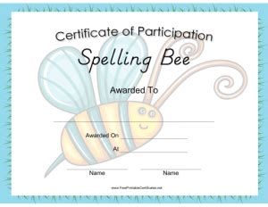 spelling bee certificate template free printable certificates and diplomas