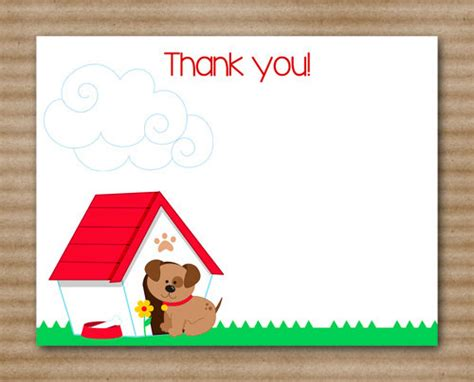 printable birthday cards dogs printable puppy thank you cards dog birthday party