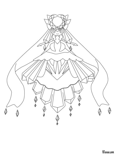 Pokemon Coloring Pages Mega Diancie | mythical pokemon diancie mega coloring pages coloring pages