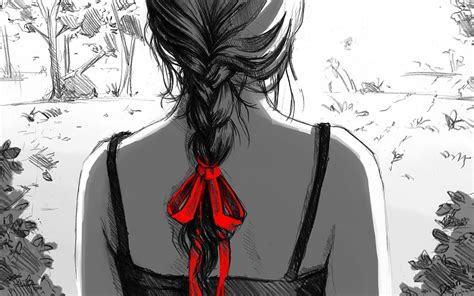 wallpaper girl drawing art dzun drawing girl back braid ribbon monochrome