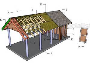 Carport Plans With Storage by Single Carport With Storage Roof Plans Howtospecialist