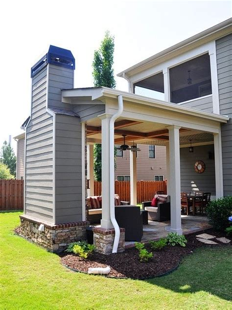 outdoor covered patio with fireplace just some things i