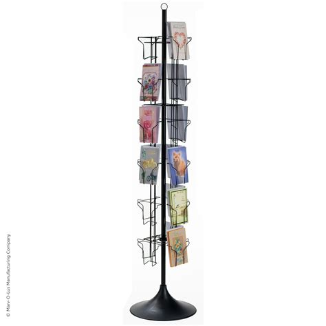 24 pocket floor greeting card display spinner rack black