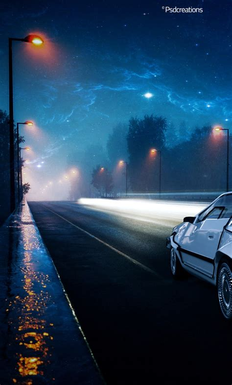 future delorean car illustration full hd wallpaper