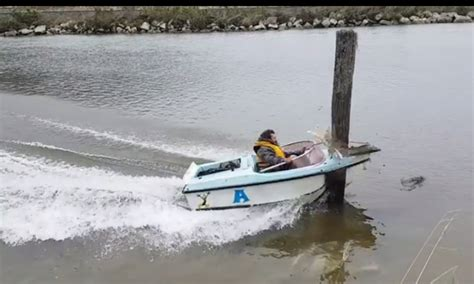 mini jet boat crash man shows that speeding boat is no match for wooden post