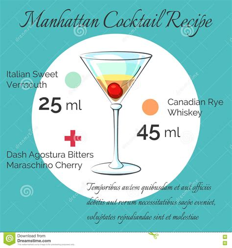 manhattan drink illustration drink menu alcoholic cocktail manhattan vector