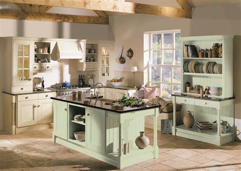 Cream Shaker Kitchen Cabinets by Avonlea Oak Painted Soft Mint And Cream Tara Interiors Uk