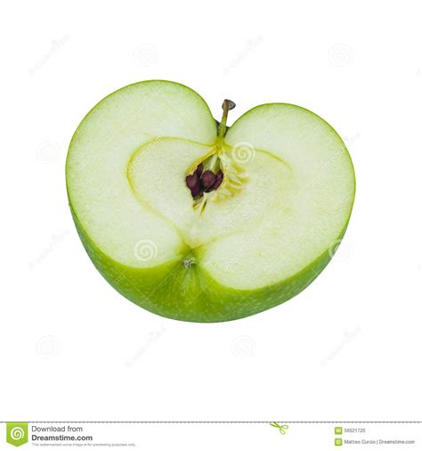 Hiltons Time Cut In Half by Closeup Of Green Apple Half Isolated On White Stock Image