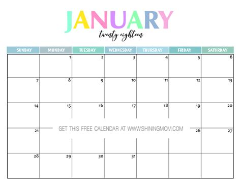 printable calendar page january 2018 free printable 2018 calendar pretty and colorful