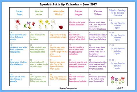 spanish activity calendars  kids spanish playground