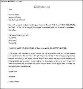 how to write 30 day eviction notice letter sle sle