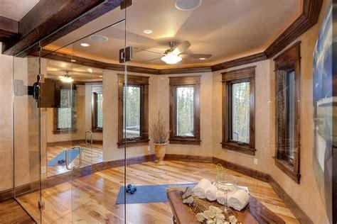 window trim ideas Home Gym Traditional with dark wood molding ceiling fan