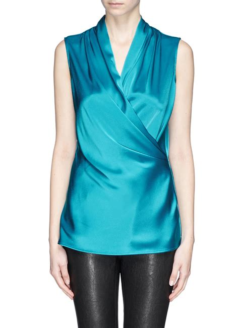 Satin Wrap Top Quartz lyst st satin wrap shell top in blue